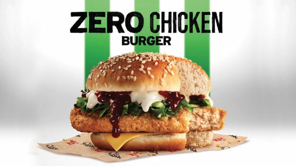 KFC Malezya, tavuksuz tavuk burgeri  Zero Chicken Burger'i piyasaya sürdü